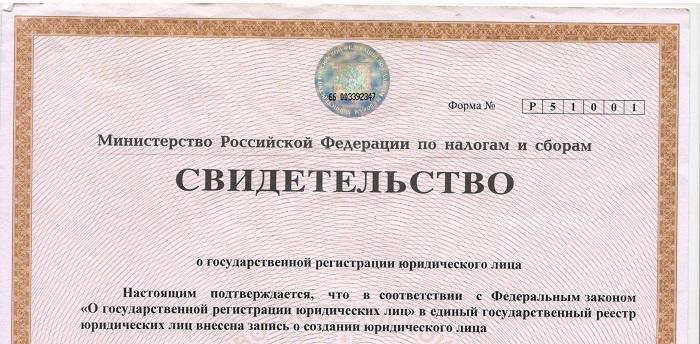 Свидетельство регистрации ООО