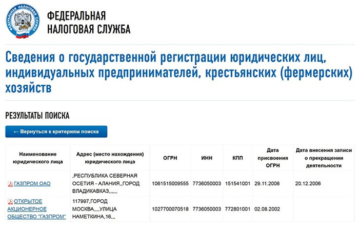 Результаты поиска информации о контрагенте на сайте налоговой