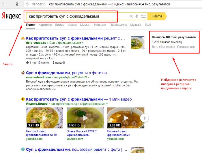 Как выглядет пример поисковой выдачи