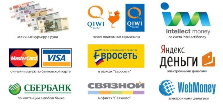 Варианты оплаты в интернет-магазине.