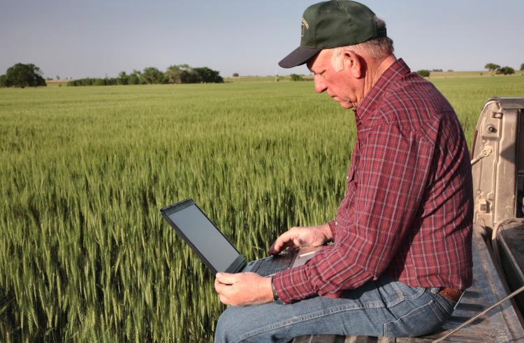 Фермер работает на компьютере