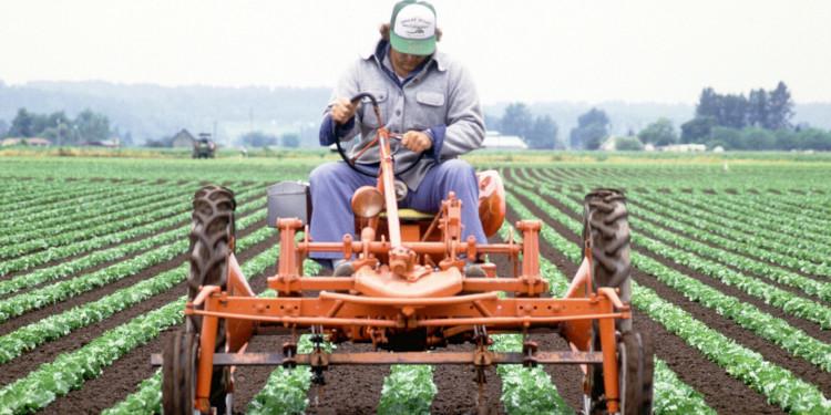 Фермер работает в поле на тракторе