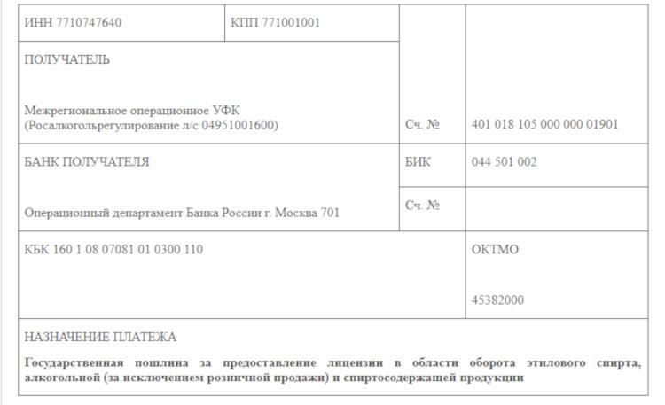 Лицензия на алкоголь госпошлина платёжное поручение