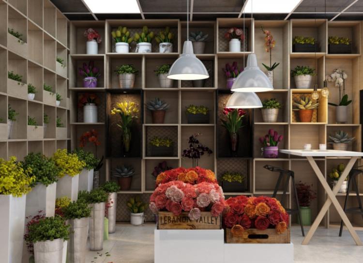 Цветочный салон стильный интерьер
