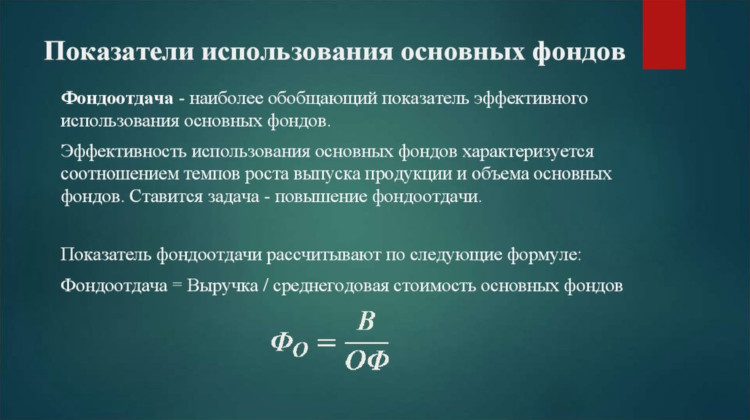 Формула фондоотдачи